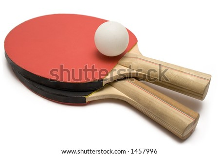 Ping Pong Paddles w/ Ball - stock photo