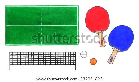 Ping-pong set. Hand-drawn green tennis table top view rackets  sc 1 st  Shutterstock & Pingpong Set Handdrawn Green Tennis Table Stock Illustration ...