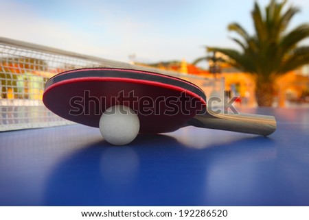 Ping-pong table at luxury hotel - stock photo