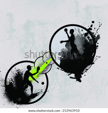 Pingpong sport invitation advert background with empty space - stock photo