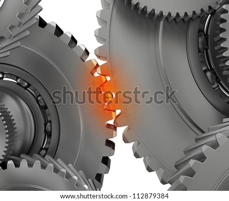 pinion mechanism warmed to the point of contact - stock photo