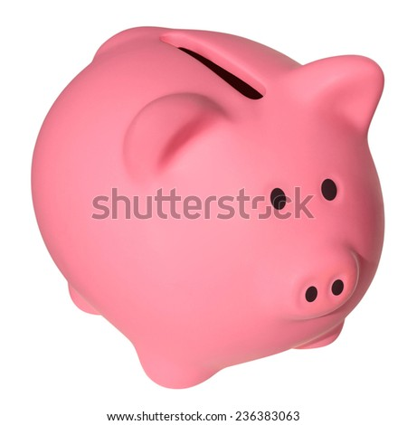 Pink a piggy bank isolated on white background with Clipping Path