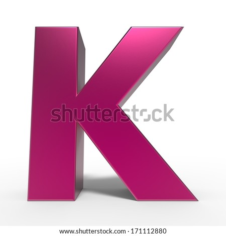 pink ABC, letter K isolated on white background - stock photo