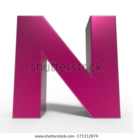 pink ABC, letter N isolated on white background - stock photo