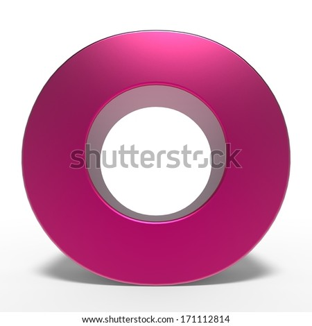 pink ABC, letter O isolated on white background - stock photo