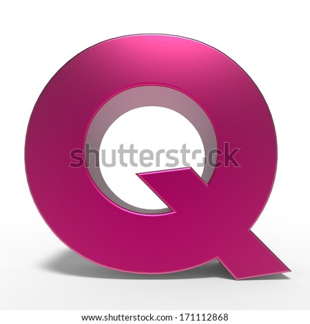 pink ABC, letter Q isolated on white background - stock photo
