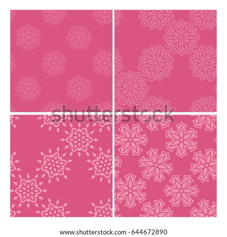 Pink abstract pattern collection isolated over white background