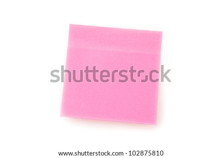 Pink adhesive note against  a white background