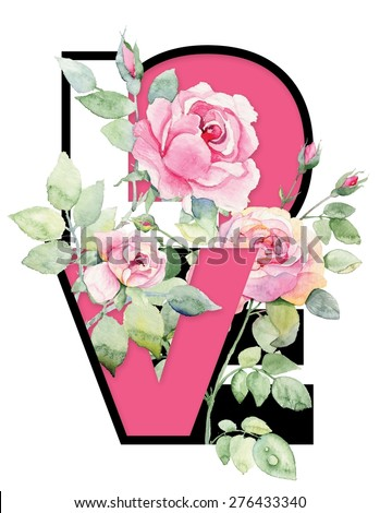 """Pink amazing roses with """"LOVE"""" word. - stock photo"""