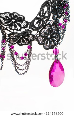 Pink and black necklace - stock photo