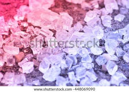 Pink and blue broken glassy cubes - stock photo