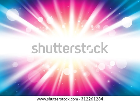 Pink and blue center ray lights bokeh glitter defocused abstract background - stock photo