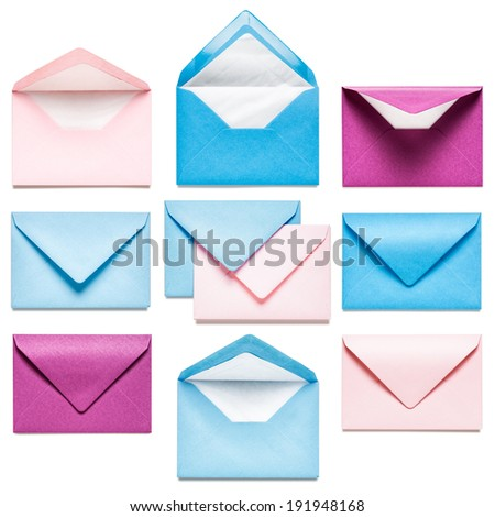 Pink and blue envelopes collection isolated on white background - stock photo