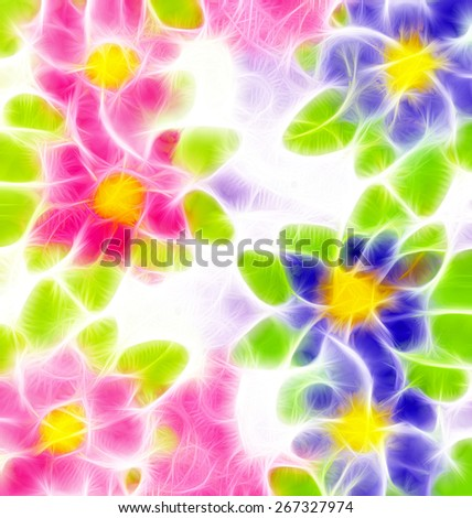 pink and blue flowers illustrations - stock photo