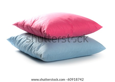pink and blue pillows isolated on white background - stock photo