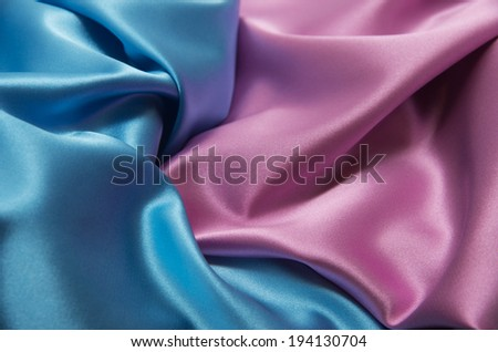 pink and blue satin fabric for background - stock photo