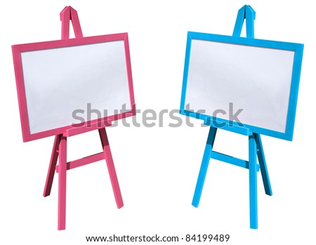 Pink and blue, white board on a white background.