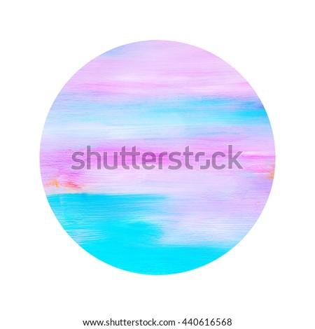 Pink and cyan circle  design element,hand painted, acrylic