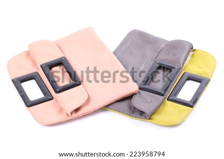 pink and gray leather case isolated on white background - stock photo