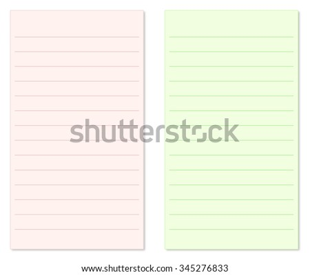 Pink and Green Blank Vertical Notepad Paper with Lines Isolated on White Background Illustration