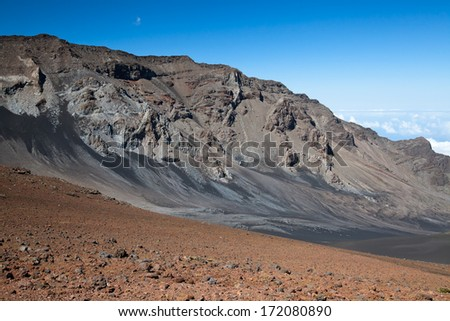 Pink and green hills in Haleakala National Park, Maui, Hawaii. - stock photo