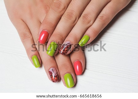 Pink Green Nail Art Butterfly On Stock Photo Royalty Free