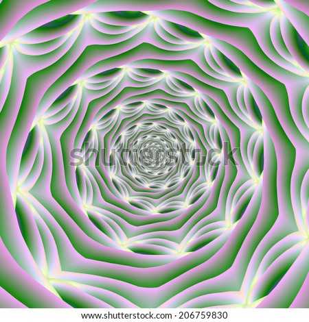 Pink and Green Vortex / A digital abstract fractal image with a spiral design in pink, green and white. - stock photo
