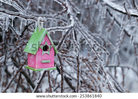 Pink and green wood birdhouse hanging on ice covered tree branches after ice storm - stock photo