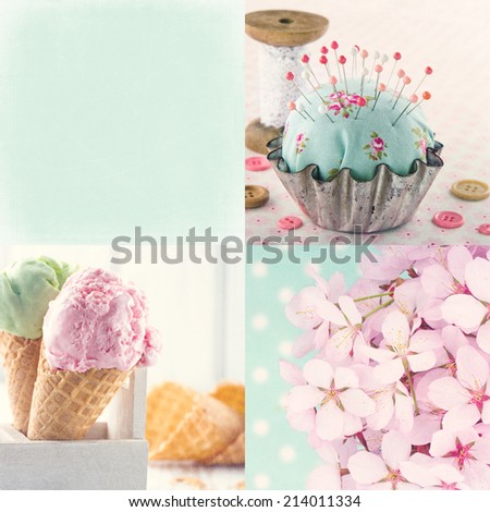 Pink and light blue tone collage of flowers and vintage decorative items and backgrounds with copy space and textured scratchy editing - stock photo