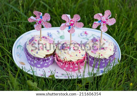 Pink and purple cupcakes with paper pinwheels on a plate on a grass - stock photo