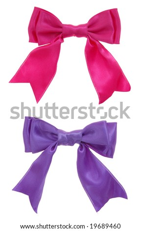pink and purple  double loops bow and ribbon isolated on white background - stock photo