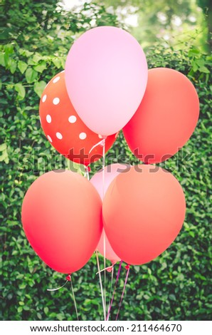 Pink and Red Balloons - Matte Photo - stock photo