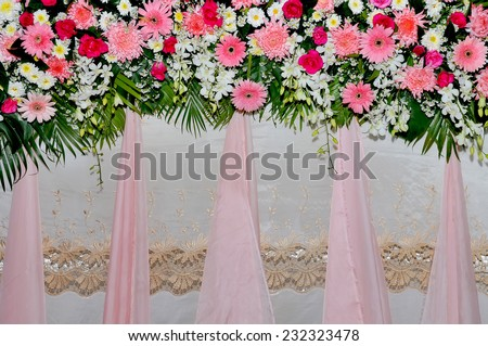 Pink and white backdrop flowers arrangement