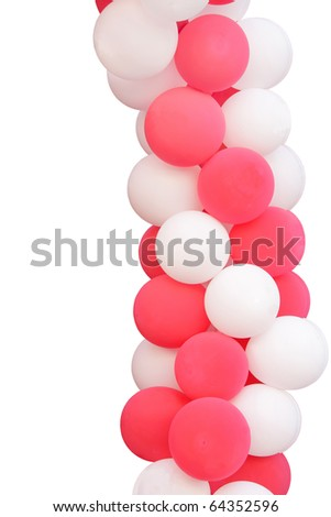 Pink and white balloons isolated on white - stock photo