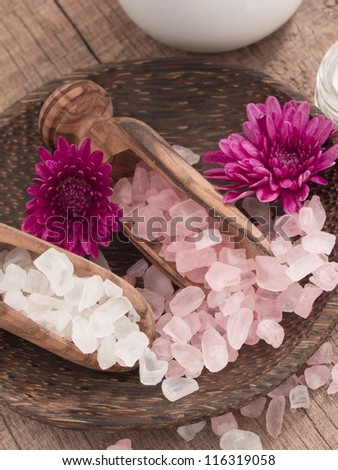 pink and white bathing salt