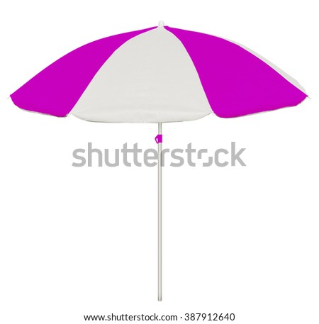 Pink and white beach umbrella isolated on white. Clipping path included. - stock photo