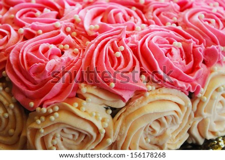 Pink and white cake - stock photo