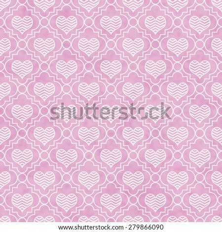 Pink and White Chevron Hearts Tile Pattern Repeat Background that is seamless and repeats - stock photo