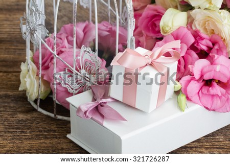 pink and white fresh roses and eustoma flowers  with gift box