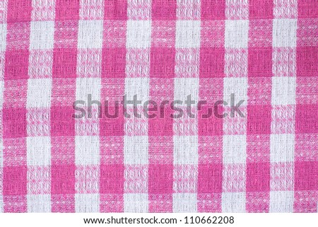 Pink and white kitchen textile texture background - stock photo
