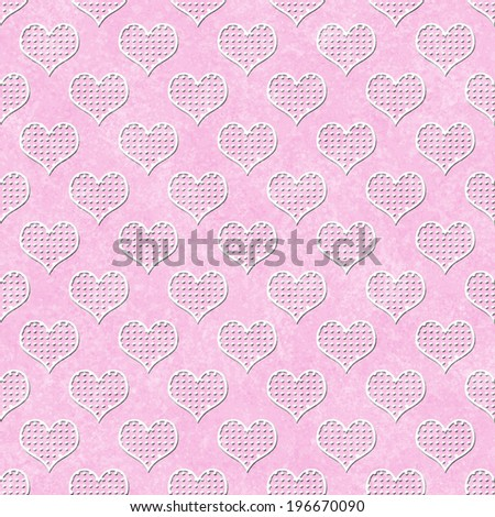 Pink and White Polka Dot Hearts Pattern Repeat Background that is seamless and repeats