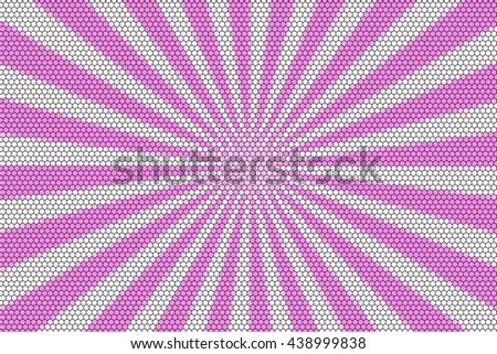 Pink and white rays from the middle with hexagonal pattern