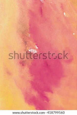 pink and yellow background watercolor background - stock photo