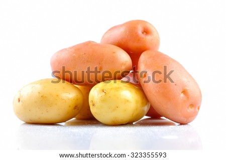Pink and Yellow Clean Potato isolated on white background