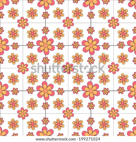 Pink and Yellow Floral pattern  - stock photo