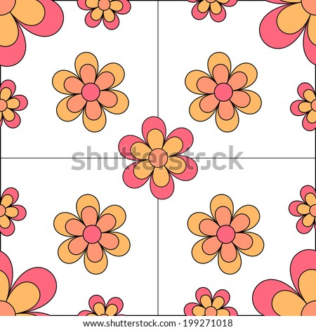 Pink and yellow Seamless Floral Tile - stock photo