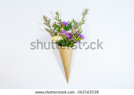 Pink yellow statice flower bouquet on stock photo 362563538 pink and yellow statice flower bouquet on white background mightylinksfo Images