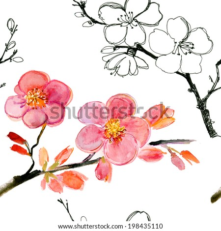 Pink apple tree flower. Watercolor hand painted drawing. - stock photo