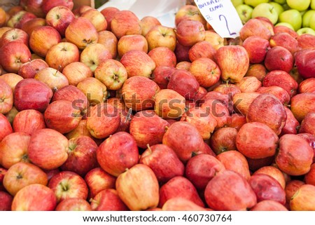 Pink apples at a farmers market in Fethiye, Turkey