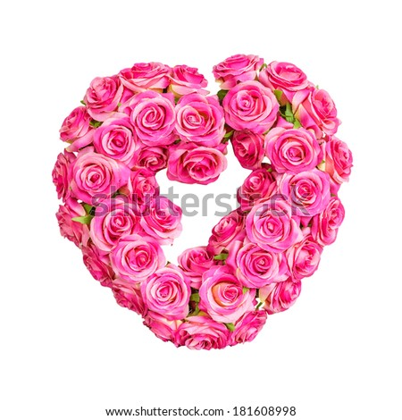 pink artificial roses in the shape of heart isolated on white